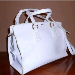 Lauren Ralph Lauren White Leather Top Handle Bag
